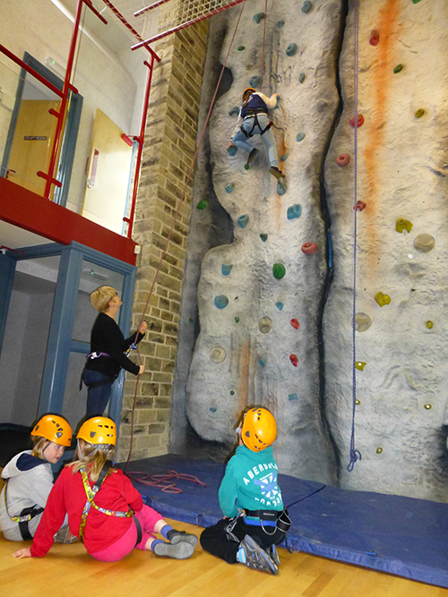 On the climbing wall